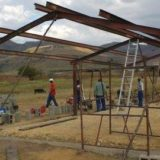 Erecting the Steel Frame for the first classroom