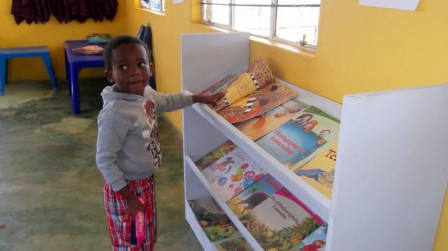 We made and gave the schools book display shelving