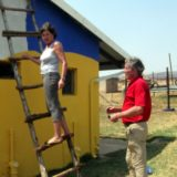 Gertrud and Georg busy. Not sure about the ladder!!