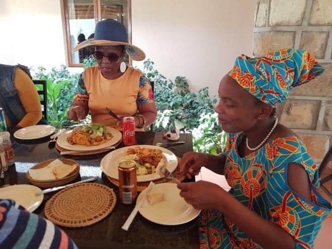 Fikile and Dudu enjoying the food