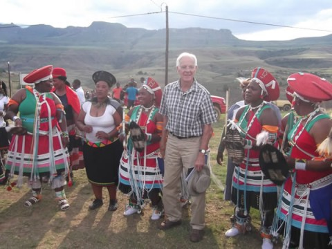 Peter Jervis with the Zulu dancers