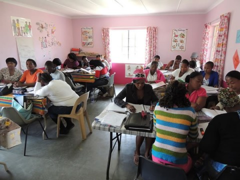 The teachers busy on their course