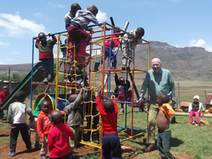 Terry with Children on the new Jungle Gym